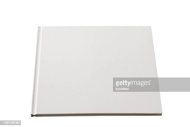 Isolated shot of square blank book on white background