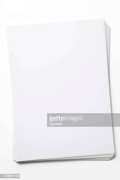 isolated shot of stacked blank paper on white background - stack stock photos and pictures