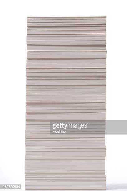 isolated shot of stacked paper on white background - stack stock photos and pictures