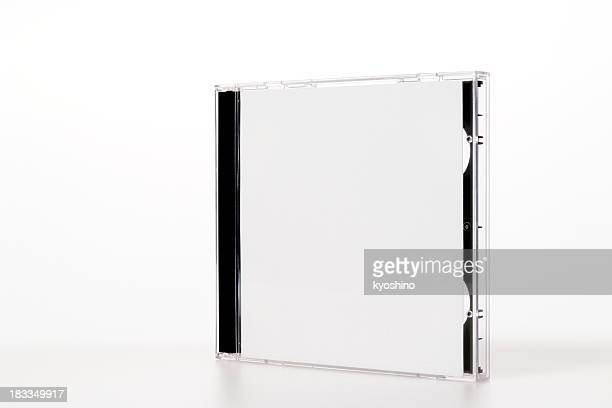isolated shot of standing plastic cd case on white background - compact disc stock pictures, royalty-free photos & images