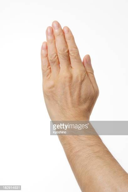 Isolated shot of Stop gesture, against white background