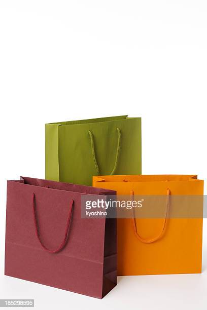 isolated shot of three shopping bags on white background - shopping bag stock pictures, royalty-free photos & images