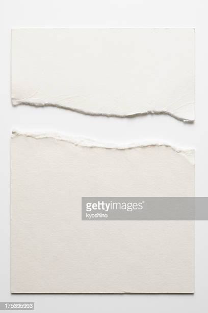 isolated shot of torn blank white paper on white background - parchment stock pictures, royalty-free photos & images