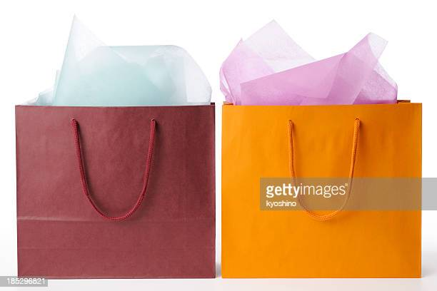 Isolated shot of two shopping bags on white background