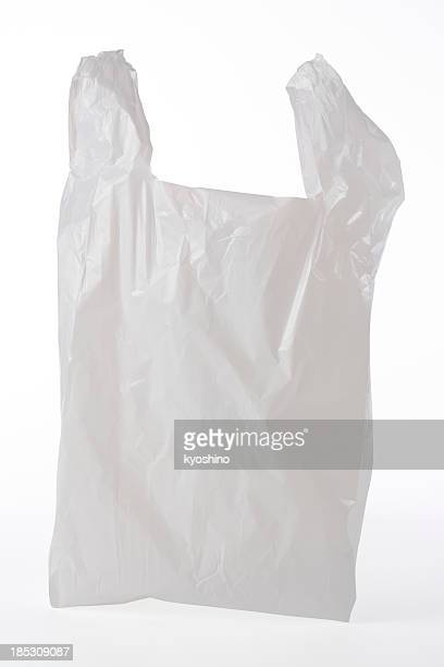 Isolated shot of used plastic bag on white background