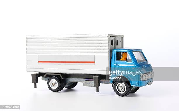 Isolated shot of vintage toy truck on white background