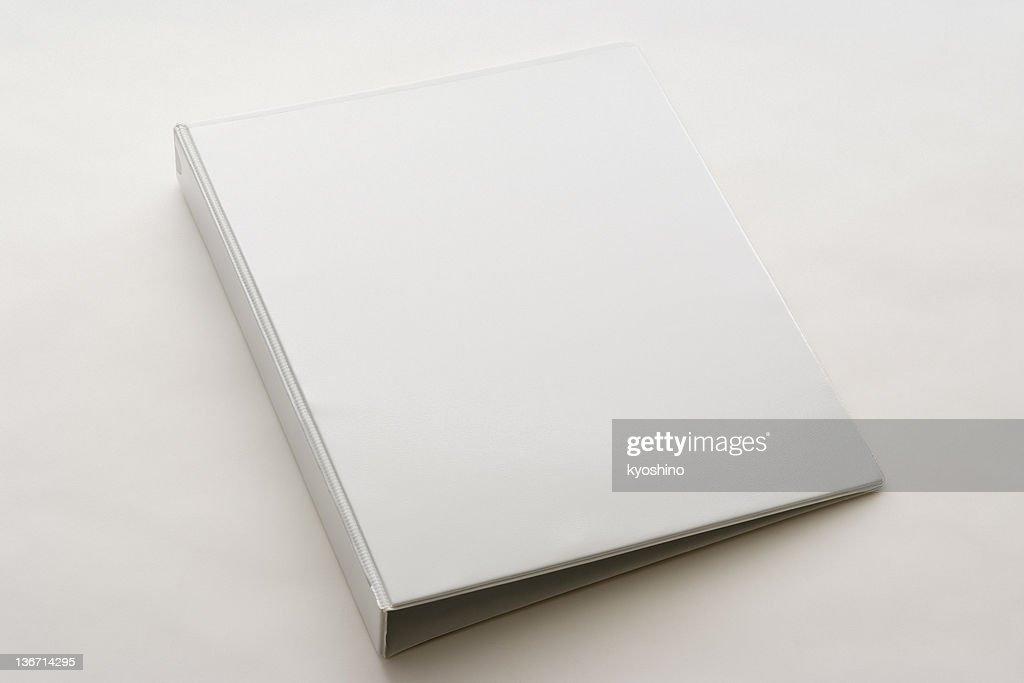 Isolated shot of white blank ring binder on white background : Stock Photo