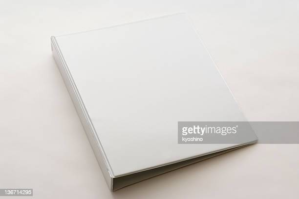 Isolated shot of white blank ring binder on white background