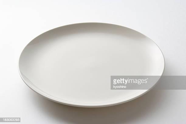 Fotografía de placa blanca aislado sobre fondo blanco