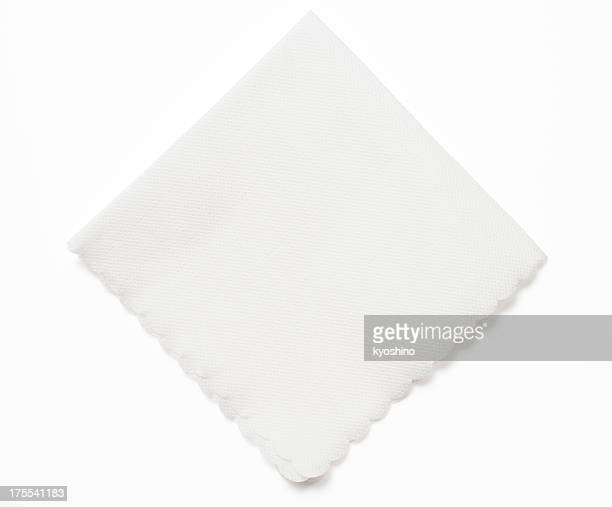Isolated shot of white paper napkin on white background