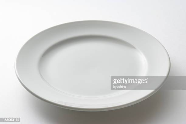 Isolated shot of white plate on white background