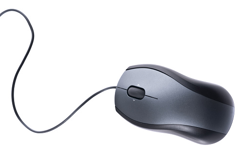Isolated silver computer mouse on white background 173863591