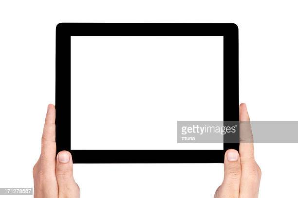 Isolated tablet with white screen on a white background