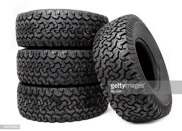 Isolated tire wheels on white background