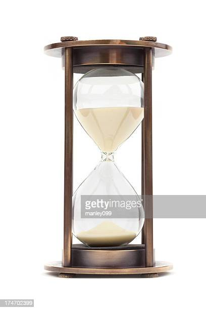 isolated vintage hourglass - hourglass stock pictures, royalty-free photos & images