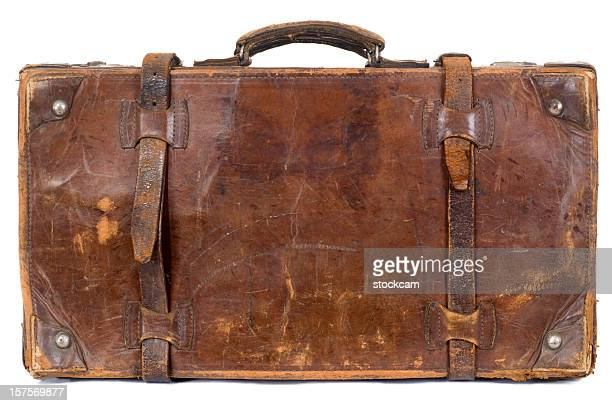 Isolated vintage old suitcase