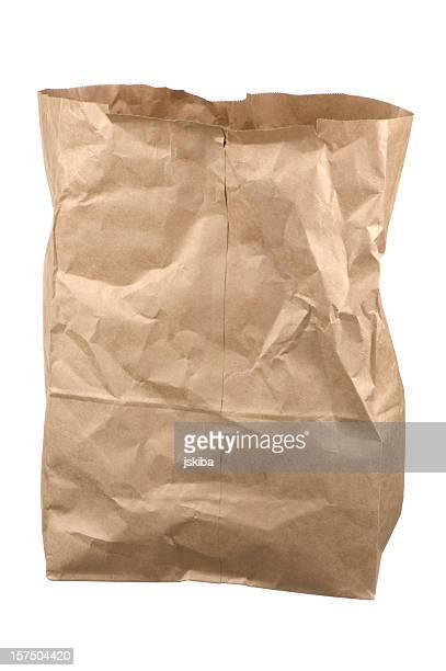 Ridé vide Brun isolé sur fond blanc sac d'achat de denrées alimentaires