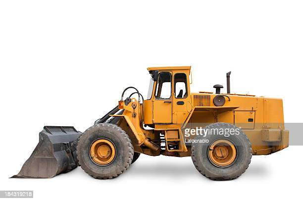 isolated yellow excavator on white background - excavator stock photos and pictures