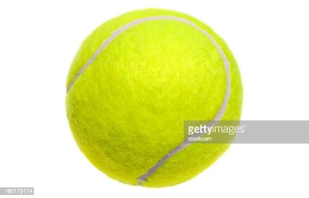 isolated yellow tennis ball on white - tennis ball stock pictures, royalty-free photos & images