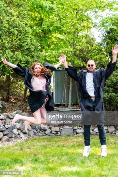 isolation graduation - jacquelyn kozak stock pictures, royalty-free photos & images