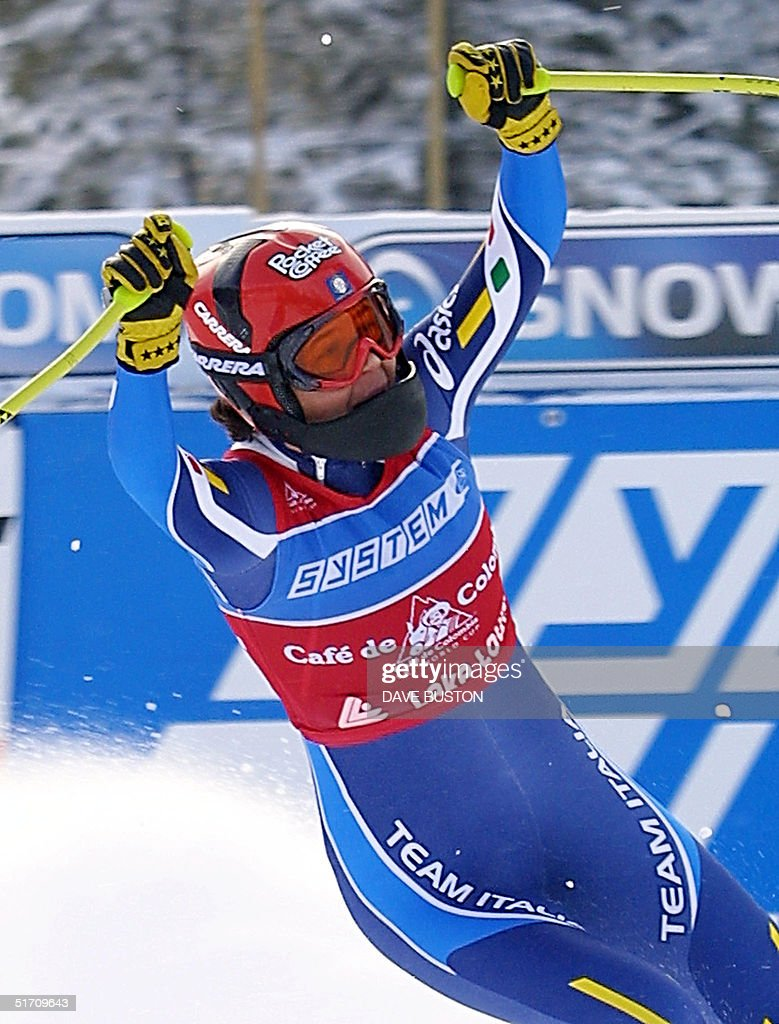 Isolde Kostner of Italy celebrates in the finish area 29 November... News  Photo - Getty Images