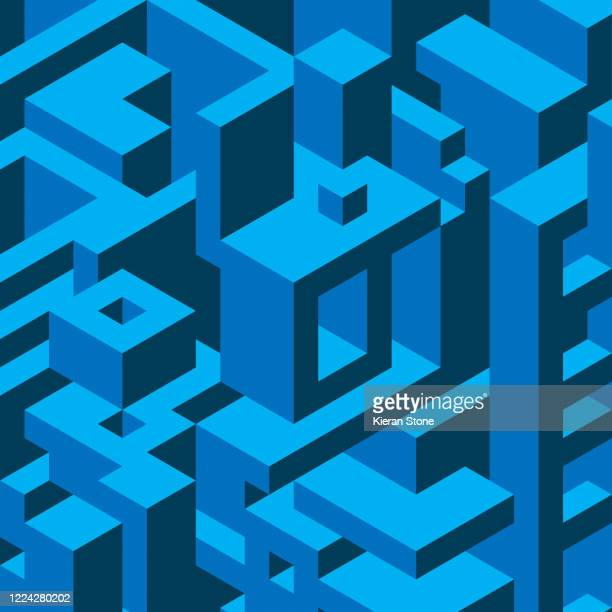 isometric abstract block background - quadrato composizione foto e immagini stock