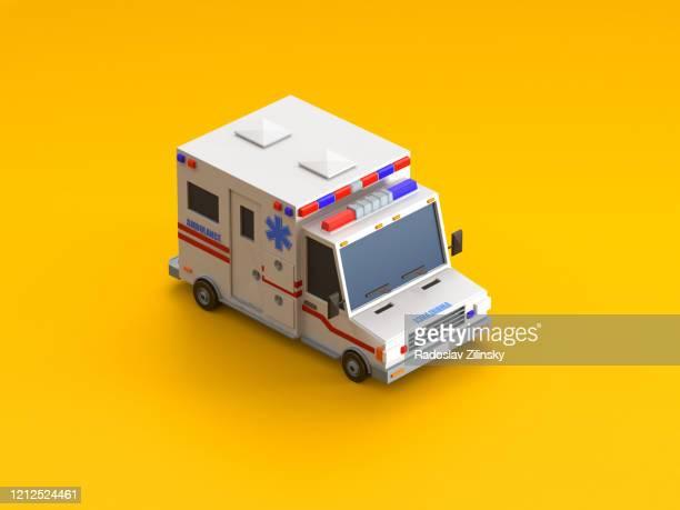 isometric vehicle ambulance car on orange background - isometric stock pictures, royalty-free photos & images