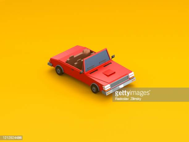 isometric vehicle car on orange background - car stock pictures, royalty-free photos & images
