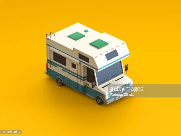 isometric vehicle car on orange background - camper van stock pictures, royalty-free photos & images