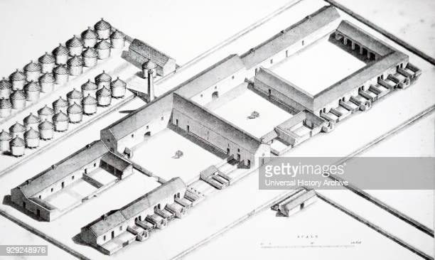 Isometric view of a steading showing the rick yard piggeries cattle yards etc Dated 19th Century