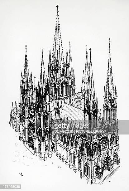 Isometric view of the ideal cathedral drawing by Eugene Emmanuel ViolletleDuc from the Dictionary of French Architecture from the 11th to 16th...