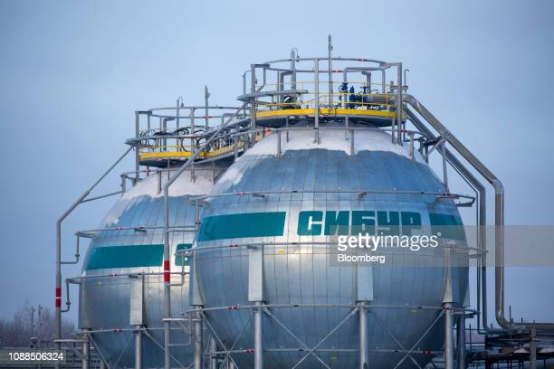 Isothermal tanks used in the fractionation of natural gas liquid hydrocarbons stand at the new ZapSibNeftekhim plant operated by Sibur Holding PJSC...