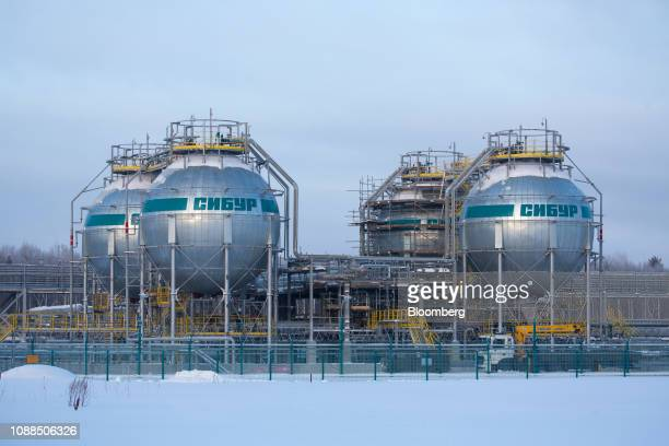 Isothermal tanks used in the fractionation of natural gas liquid hydrocarbons stand at the new ZapSibNeftekhim plant, operated by Sibur Holding PJSC,...