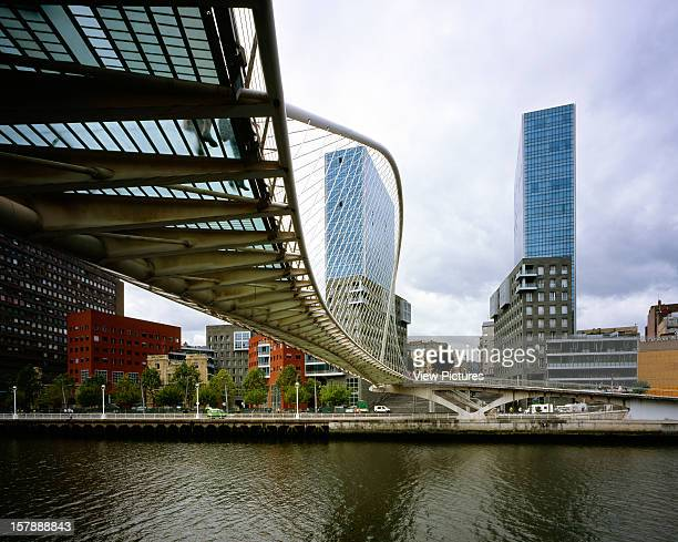 Isozaki Atea Bilbao Spain Architect Arata Isozaki Isozaki Atea General View From Across The River With Footbridge