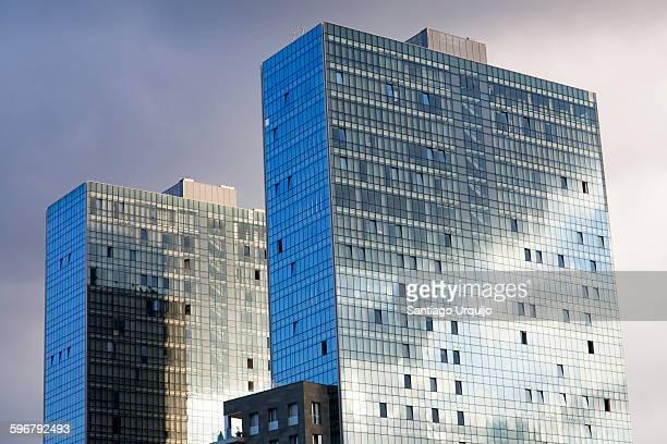 Isozaki Towers reflecting the sun
