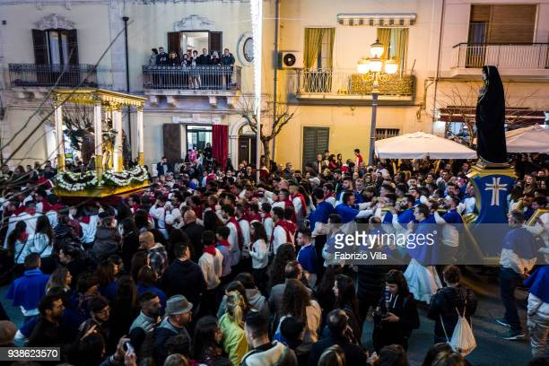 The ancient statue of Christ at the column led to shoulder from the devotees to the streets of Ispica on 13 April 2017 meets the Madonna mother of...