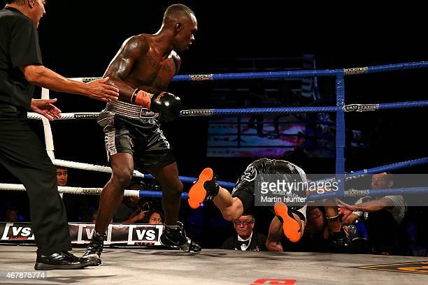 Israel Adesanya fights Brian Minto during Super 8 Fight Night at Horncastle Arena on March 28 2015 in Christchurch New Zealand