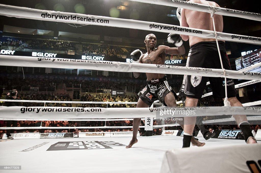 Israel Adesanya fights Filip Verlinden in the Glory Superfight Series on April 12, 2014 in Istanbul, Turkey.