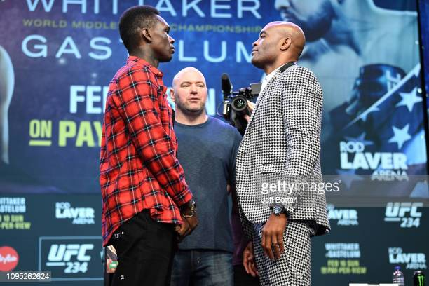 Israel Adesanya of New Zealand and Anderson Silva of Brazil faceoff during the UFC 234 Press Conference inside The Palms at Crown on February 8 2019...
