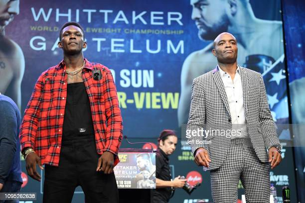 Israel Adesanya of New Zealand and Anderson Silva of Brazil pose during the UFC 234 Press Conference inside The Palms at Crown on February 8 2019 in...