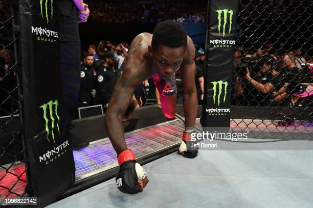 Israel Adesanya of New Zealand enters the Octagon prior to his middleweight bout against Anderson Silva of Brazil during the UFC 234 at Rod Laver...