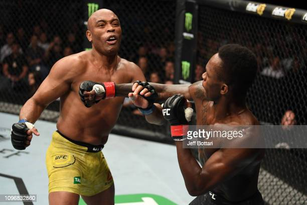 Israel Adesanya of New Zealand punches Anderson Silva of Brazil in their middleweight bout during the UFC 234 at Rod Laver Arena on February 10 2019...