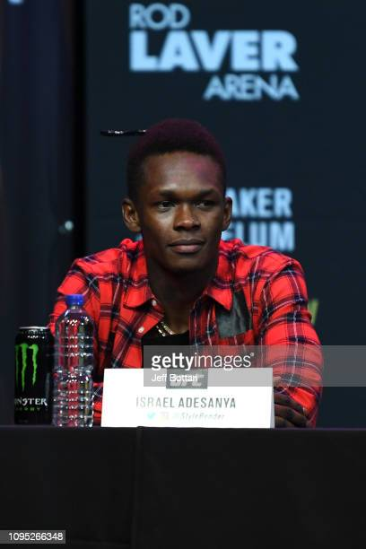 Israel Adesanya of New Zealand speaks to the media during the UFC 234 Press Conference inside The Palms at Crown on February 8 2019 in Melbourne...