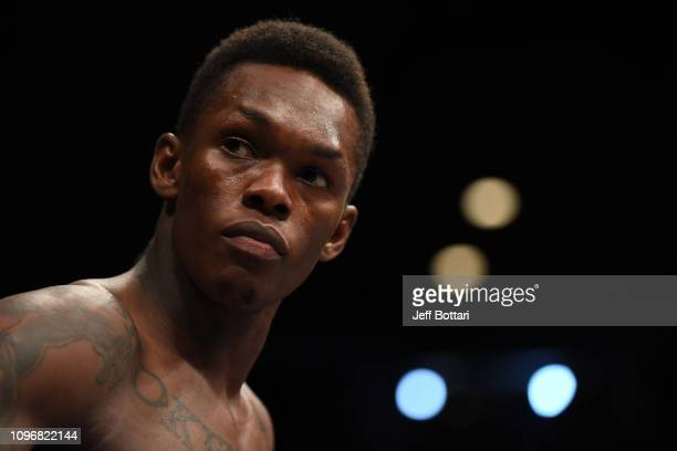 Israel Adesanya of New Zealand stands in his corner prior to his middleweight bout against Anderson Silva of Brazil during the UFC 234 at Rod Laver...