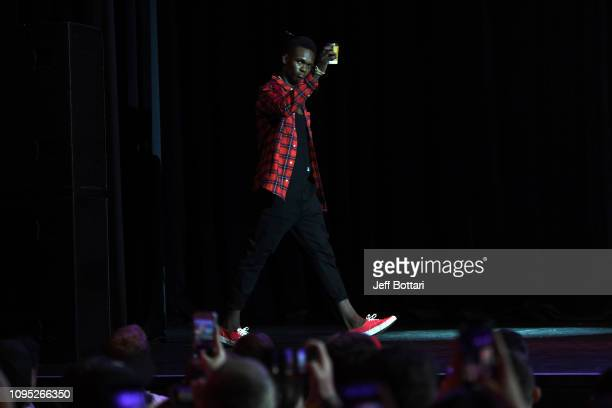 Israel Adesanya of New Zealand walks on stage during the UFC 234 Press Conference inside The Palms at Crown on February 8 2019 in Melbourne Australia