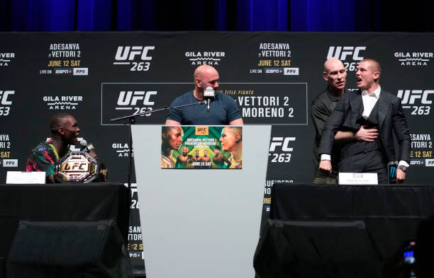 Israel Adesanya of Nigeria and Marvin Vettori of Italy have words during the UFC 263 press conference at Arizona Federal Theater on June 10, 2021 in...