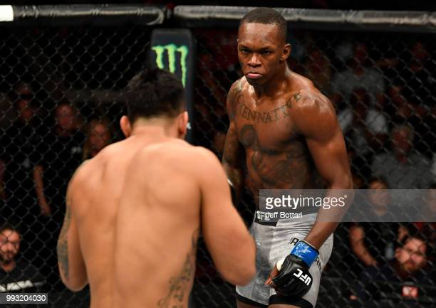 Israel Adesanya of Nigeria battles Brad Tavares in their middleweight bout during The Ultimate Fighter Finale event inside The Pearl concert theater...