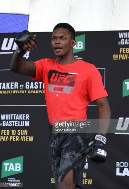 Israel Adesanya of Nigeria during his UFC 234 workout session at Federation Square on February 07 2019 in Melbourne Australia