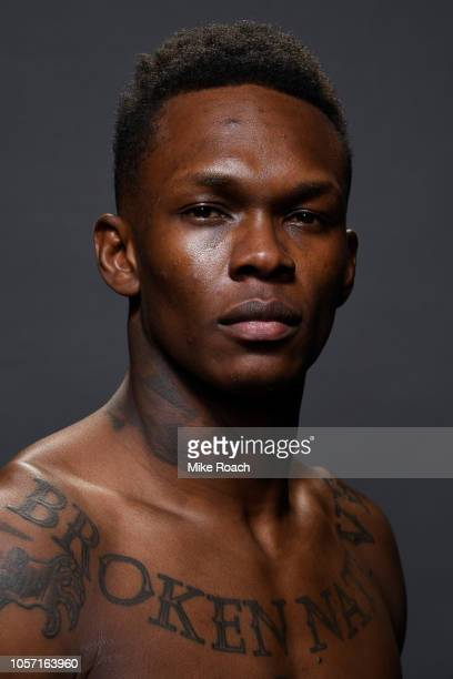 Israel Adesanya of Nigeria poses for a portrait backstage after his victory over Derek Brunson during the UFC 230 event inside Madison Square Garden...