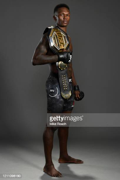 Israel Adesanya of Nigeria poses for a portrait backstage after his victory during the UFC 248 event at TMobile Arena on March 07 2020 in Las Vegas...